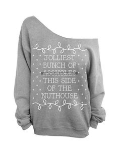 Ugly Christmas Sweater  Gray Slouchy Oversized CREW