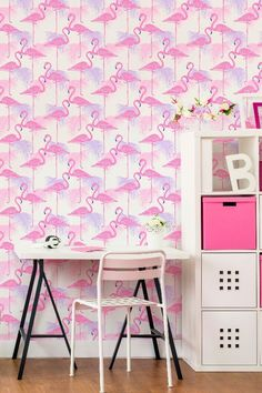 Kidz Flamingo a tropical wallpaper design featuring a contemporary pattern of stylised flamingos and palm leave Hallway Wallpaper, Dining Room Wallpaper, Kitchen Wallpaper, Diy Wallpaper, Print Wallpaper, Designer Wallpaper, Pink And Green Wallpaper, Pink Flamingo Wallpaper, Palm Leaf Wallpaper