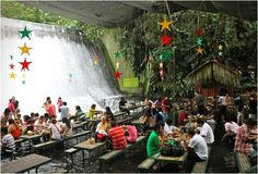 waterfalls, villa escudero, cozy rooms, architecture, place, world geography, restaurants, philippines, waterfal restaur