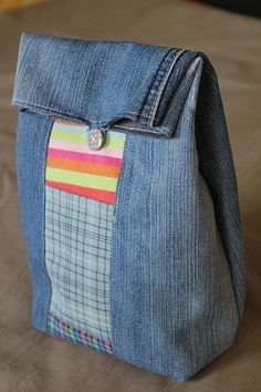"Recycled Jeans Lunch Bag, she uses Purl Bee's ""button lunch bag"" pattern and some old blue jeans, I like it's simplicity..."