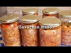 Zavařené maso - Nejen na horší časy - YouTube Preserves, Salsa, Mason Jars, Good Food, Homemade, Meat, Recipes, Youtube, Music