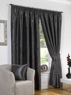 Bring your room in elegant look with our Sicily Black Pencil Pleat Curtains