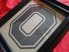 "The Ohio State Buckeyes Big ""O"" Rustic Burlap Wall Art  - 8 1/2"" x 11"" - Go Buckeyes"