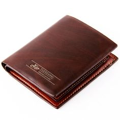Pls note: The surface of Wallet is made of pu, but the layer inside of bottom is made of Genuine leather. - Fashionable, beautiful, delicate fold design wallet for man - Lightweight and convenient to carry. Business Credit Cards, Credit Card Wallet, Man Purse, Christmas 2016, David, Purses, Brown, Leather, Men