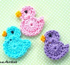 Best 11 Listing is for 3 crochet embellishments, mix of colours. Each motif is made in a quality cotton yarn, which is soft Picot Crochet, Crochet Birds, Crochet Motif, Crochet Designs, Crochet Flowers, Crochet Applique Patterns Free, Easter Crochet Patterns, Baby Knitting Patterns, Crochet Hair Clips