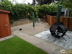 garden, patio, gravel, fence after