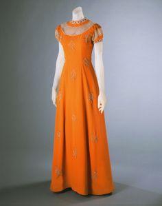 Summer 1939, France - Dinner Dress by Elsa Schiaparelli - Rayon crepe, metallic thread embroidery, pearls, seed beads