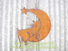 Rusty Cat Sleeping on Crescent Moon Recycled by GeminiDragonfly, $48.00