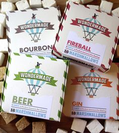 *Varieties Contain a 16 Pc. box of Bourbon, Fireball, Gin & Beer. Wondermade artisan marshmallows are hand-crafted using the finest confectionary i Flavored Marshmallows, Non Alcoholic Beer, Secret Santa Gifts, Food Packaging, Gourmet Recipes, Yummy Recipes, Cooking Recipes, Sweet Treats, Gift Ideas