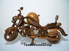 Wooden Harley Davidson hand-carved Teak from by TeakWoodShop