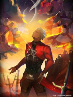 fate (series) fate/stay night archer (fate/stay night) jinna png conversion cloud dark skin gears looking up male short hair sky solo sword weapon white hair Fate Stay Night Series, Fate Stay Night Anime, Warrior King, Fantasy Warrior, Anime Demon, Manga Anime, Anime Fight, Fate Archer, Archer Emiya