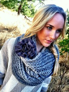 INFINITY Knitted Scarf GREY Loop with GRAY by ThreeBirdNest, $48.00