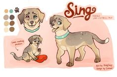 Sing song by KingCavy on DeviantArt Cute Animal Drawings, Animal Sketches, Cute Drawings, Puppy Drawings, Animal Design, Dog Design, Anime Animals, Cute Animals, Animation