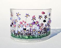 Your place to buy and sell all things handmade Glass Fusion Ideas, Glass Fusing Projects, Miniature Quilts, Fused Glass Art, Stained Glass, Beginner Painting, Glass Flowers, Glass Garden, Red Poppies