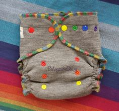 Wool Diaper Cover upcycled Merino Wool One Size soaker Gray with Rainbow trim and Snaps