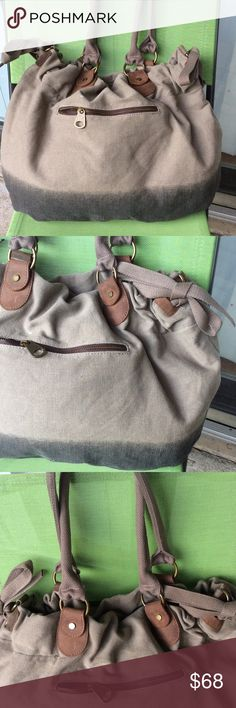 Jesslyn Blake by Anthropology huge canvas tote Very thick canvas,very spaces bag small spot above zipper Anthropologie Bags Totes