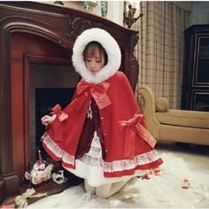 Cheap woolen coat, Buy Quality red coat directly from China womens cloak Suppliers: 2017 Winter New Woolen Coat Japanese Female Sweet Christmas Hooded Cape Bow Red Coat Warm Lolita Style Fur Collar Women Cloak 1900 Clothing, Estilo Lolita, Teddy Bear Coat, Coat Patterns, Mori Girl, Lolita Fashion, Women's Fashion, Lolita Dress, Fur Collars