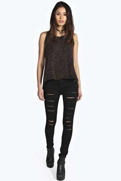 Lara Super Skinny Slit Leg Tube Jeans at boohoo.com