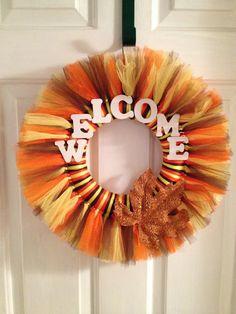Fall or Autumn Tulle Tutu Wreath Customized