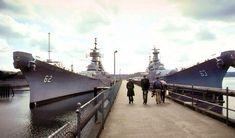 New Jersey and Missouri moored at the Naval Inactive Ship Maintenance Facility at Puget Sound Naval Shipyard in Naval History, Military History, Missouri, Uss Oklahoma, Navy Coast Guard, Us Battleships, Capital Ship, Big Guns, Army & Navy