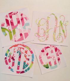 Lilly Pulitzer Inspired Vinyl Monogram Decal by alisuniquebowtique