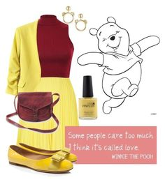 """Pooh Bear"" by kathrynrose42 ❤ liked on Polyvore featuring Boutique Moschino, Moschino, Pilot, CND, WithChic and Salvatore Ferragamo"