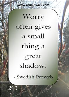 213 Worry often gives a small thing a great shadow | A Sunlit Walk
