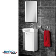 Fackelmann SCENO Badmöbel Set Gäste-WC Farbe Weiß/Pinie-Anthrazit-Optik (3-teilig) - Waschbecken links. Auch für kleine Bäder geeignet!