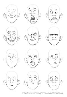 Expresiones manga chico/a emotion faces, drawing cartoon faces, cartoon characters sketch, Character Design Animation, Character Design References, Character Drawing, Character Sketches, Art Sketches, Art Drawings, Easter Drawings, Character Design Tutorial, Animation Sketches