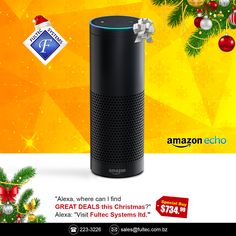 🎄Tech the Halls - Christmas Sale🎁 Get the Amazon Echo - Always ready, connected, and fast. Just ask. #FultecSystems #TechtheHasll #ChristmasSale #CyberMonday #Amazon #AmazonEcho