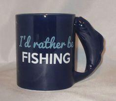 I'd Rather Be Fishing Coffee Mug Cup 18 oz Ceramic Blue Fish Handle New  #DEI