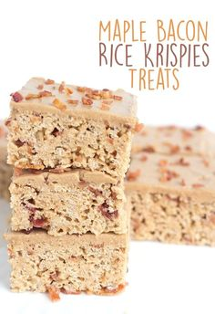 and salty lovers, these maple bacon rice krispies treats are for you! They Sweet and salty lovers, these maple bacon rice krispies treats are for you! -Sweet and salty lovers, these maple bacon rice krispies treats are for you! Rice Krispy Treats Recipe, Rice Crispy Treats, Krispie Treats, Köstliche Desserts, Delicious Desserts, Dessert Recipes, Rice Recipes, Bacon Recipes, Fudge Recipes
