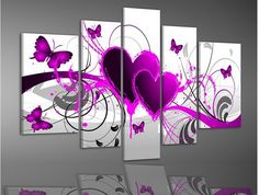 Tableau Abstrait Coeur Rose 50€