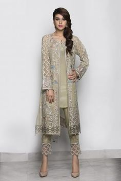 indian designer wear here is the latest collection of best latest party wear embroidered shirts with pencil, cigarette trousers and smoky pants designs Pakistani Fashion Party Wear, Pakistani Formal Dresses, Indian Gowns Dresses, Indian Party Wear, Pakistani Dress Design, Pakistani Outfits, Indian Outfits, Indian Fashion, Latest Pakistani Fashion
