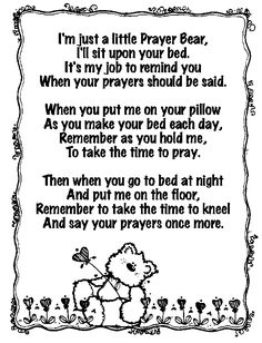 For a little prayer bear