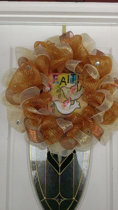 Faith Inspired Two Tone Gold Deco Mesh Wreath by MisSuenos on Etsy, $35.00