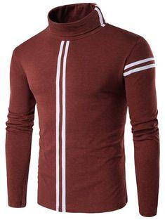 Roll Neck Varsity Stripe Long Sleeve T-Shirt - Oxide Red - L - OXIDE 9f92de599655c