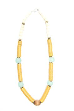 ornette necklace large seafoam bottleglass, hammered brass and bone with vintage brass centerpiece