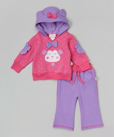 Love this Duck Duck Goose Pink Polka Dot Fleece Monkey Hoodie & Purple Pants by Duck Duck Goose on #zulily! #zulilyfinds