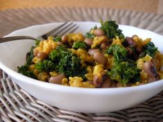 Caribbean Peas and Rice -- spicy black-eyed peas with Jamaican jerk seasoning (and some kale and brown rice in there, so you know it's good for you!) Perfect for Phase 1.