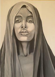 Veiled Woman Wall Art Veil, Black And White, Wall Art, Portrait, Painting, Inspiration, Woman, Biblical Inspiration, Black N White