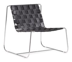 Prospect Park Lounge Chair Black.  Submerge yourself in a supple braided leather seat. The Prospect lounge chair is made from 100% recycled leather braided onto a chrome base.