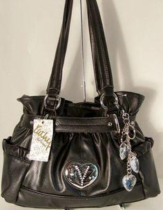 26f9cd6b31b4 NWT Kathy Van Zeeland Handbag Purse Bag Heart You Belt Shopper Black Kathy  Van Zeeland
