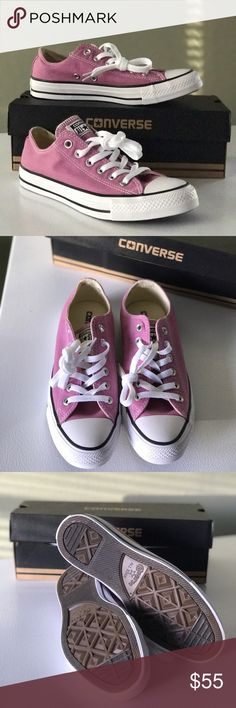 Converse Chuck Taylor All-Star Sneakers Brand new in box Converse Chuck Taylor All-Star sneakers in the color powder purple. These shoes look more pink than purple in my opinion, which is why I'm selling them. I was looking for purple Chucks not pink!  Never worn, not even around the house. Never even tried on. They're adorable, just not what I was looking for. Converse Shoes Sneakers