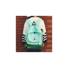 Embroidered Backpack ($30) ❤ liked on Polyvore featuring bags, backpacks, accessories, daypack bag, green backpack, canvas rucksack, day pack backpack and bear backpack