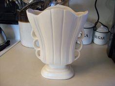Mid Century White Vase by BigSkyBeadwear on Etsy, $38.00
