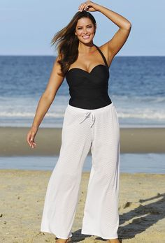 crochet beach pants, deep black | gyaru for plus sizes | pinterest