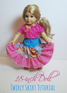 18-inch Doll Twirly Skirt Tutorial | The TipToe Fairy  #americangirl #dollclothes #tutorial