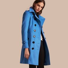 Sandringham Fit Cashmere Trench Coat Cornflower | Burberry