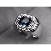 Anel Masculino Em Ouro Branco 18k Gold Plated E Safira Azul   Noragami    Pinterest   Jewelry, Rings e Jewelry rings b4e89b2b71